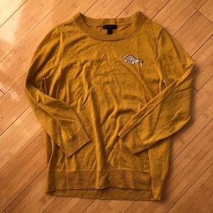 J. Cew Mustard Sweater with Turtle 🐢 XL
